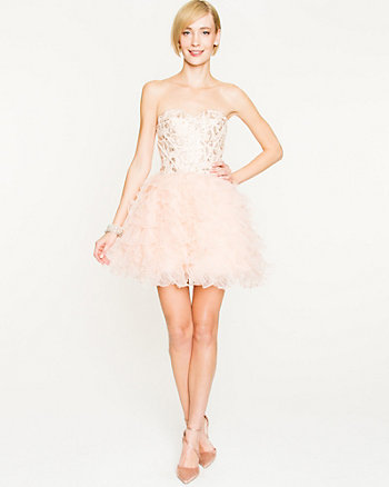 Sequin & Organza Tiered Cocktail Dress