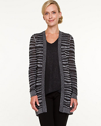 Metallic Knit Zebra Print Cardigan