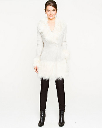 Bouclé Coat with Faux Fur Trim