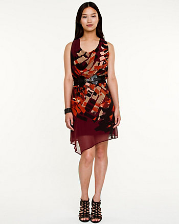 Abstract Print Cowl Neck Belted Dress