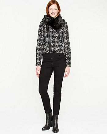 Houndstooth Wool Blend Jacket