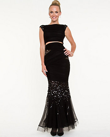 Sequin Embellished Cutout Mermaid Gown