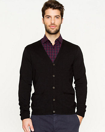 Rayon Blend Button-Front Cardigan