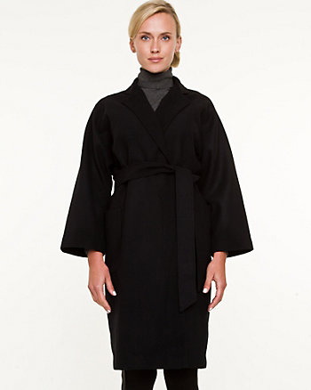 Faux-Melton Belted Coat