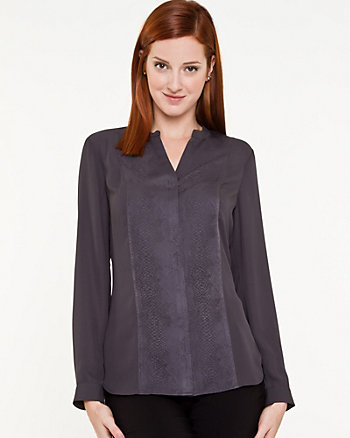 Jacquard V-Neck Blouse