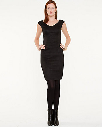 Animal Texture V-Neck Shift Dress