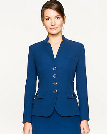 Double Weave Collarless Blazer