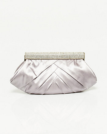 Satin Jewel Encrusted Frame Clutch