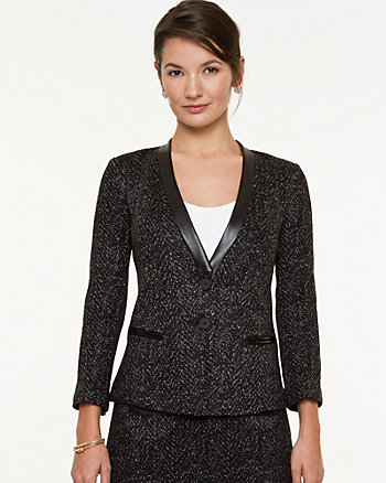 Tweed Inverted Collar Blazer