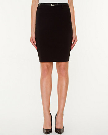 Bengaline Belted Pencil Skirt