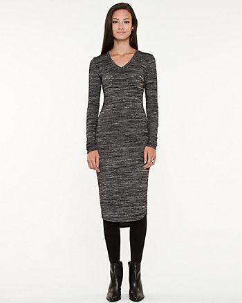Knit V-Neck Midi Dress