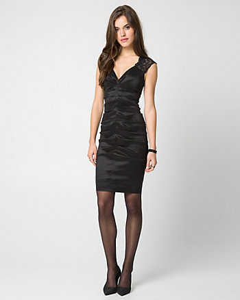 Taffeta & Lace Sweetheart Cocktail Dress