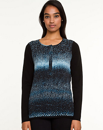 Knit & Woven Abstract Print Sweater