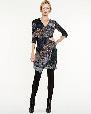 Tweed Knit Wrap Dress