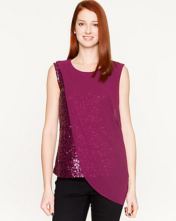 Sequin & Knit Layered Top