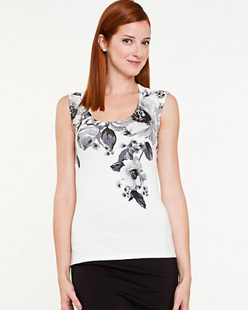 Floral Viscose Blend Sweater Tank
