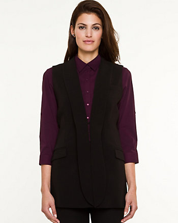 Woven Shawl Collar Vest
