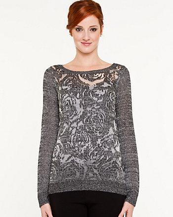 Metallic Boat-neck Sweater
