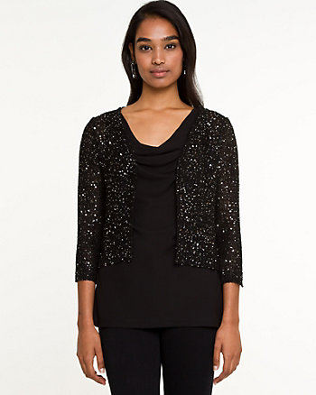 Sequin Knit Cropped Cardigan