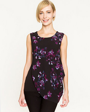 Floral Sequin & Knit Layered Top