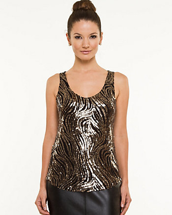 Sequin V-Neck Tank Top