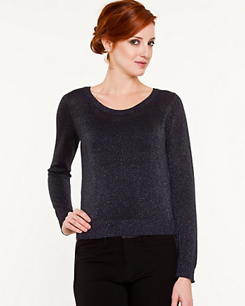 Metallic Knit Cutout Sweater