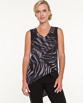 Zebra Print Crêpe de Chine Asymmetric Blouse