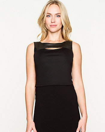 Ponte & Leather-Like Cutout Crop Top