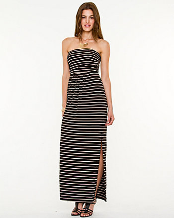 Stripe Knit Maxi Tube Dress