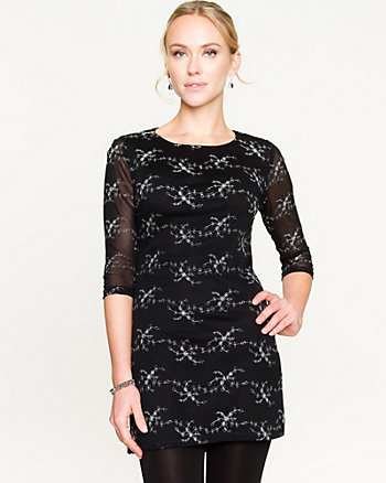 Embroidered Mesh Fit Dress