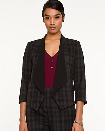 Viscose Blend Check Shawl Collar Blazer