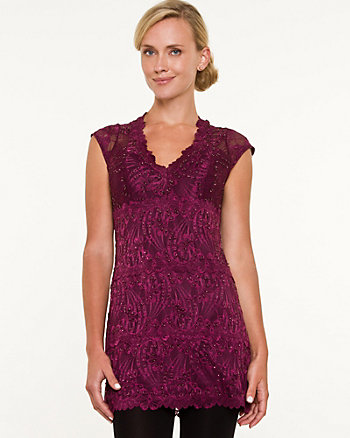 Beaded Lace V-Neck Tunic