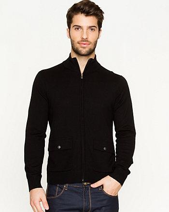Merino Wool Blend Zip Cardigan