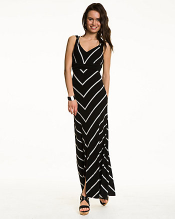 Stripe Jersey V-Neck Maxi Dress