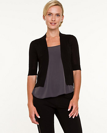 Silk Blend Open Front Cardigan