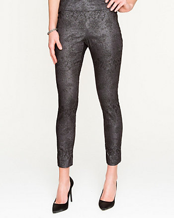 Jacquard Exposed Zipper Skinny Pant