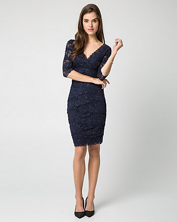 Beaded Lace V-Neck Dress