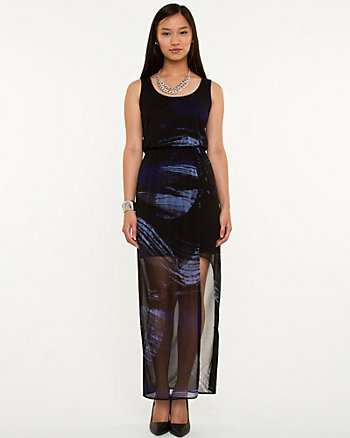 Printed Sheer Maxi Dress
