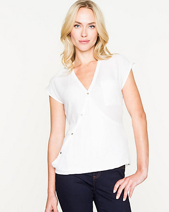 Challis Wrap V-neck Blouse