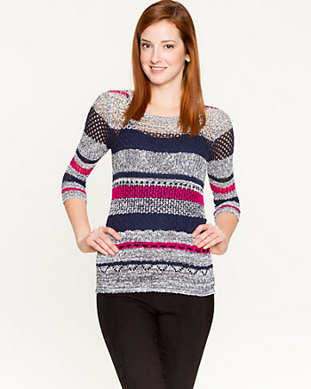 Stripe Open-Stitch Sweater