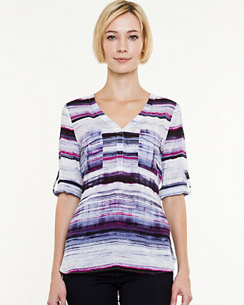 Stripe Challis Criss-Cross Back Blouse