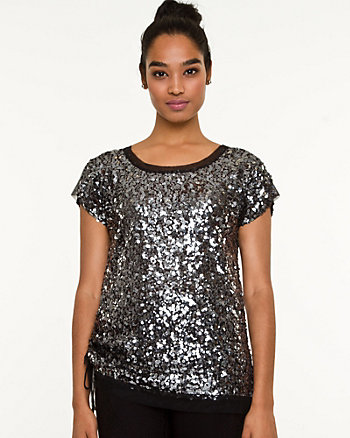 Sequin Rushed Top
