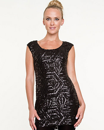 Sequin Scoop Neck Tunic