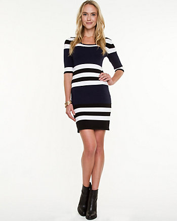 Stripe Knit Sweater Dress