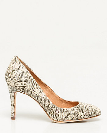 Snake Embossed Leather Pump
