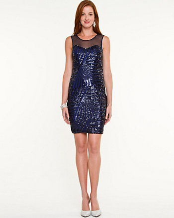 Sequin Illusion Fitted Dress