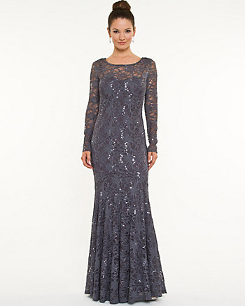 Lace Illusion Mermaid Gown