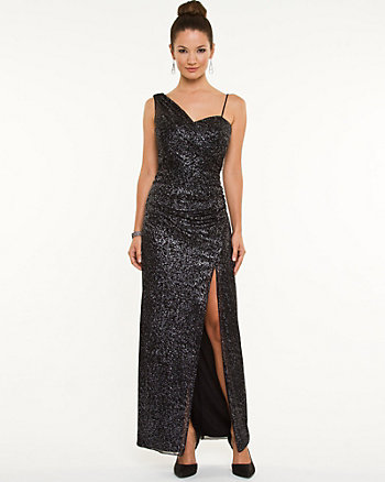 Sparkle Mesh One-Shoulder Gown