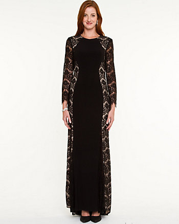 Lace & Knit Long Sleeve Gown