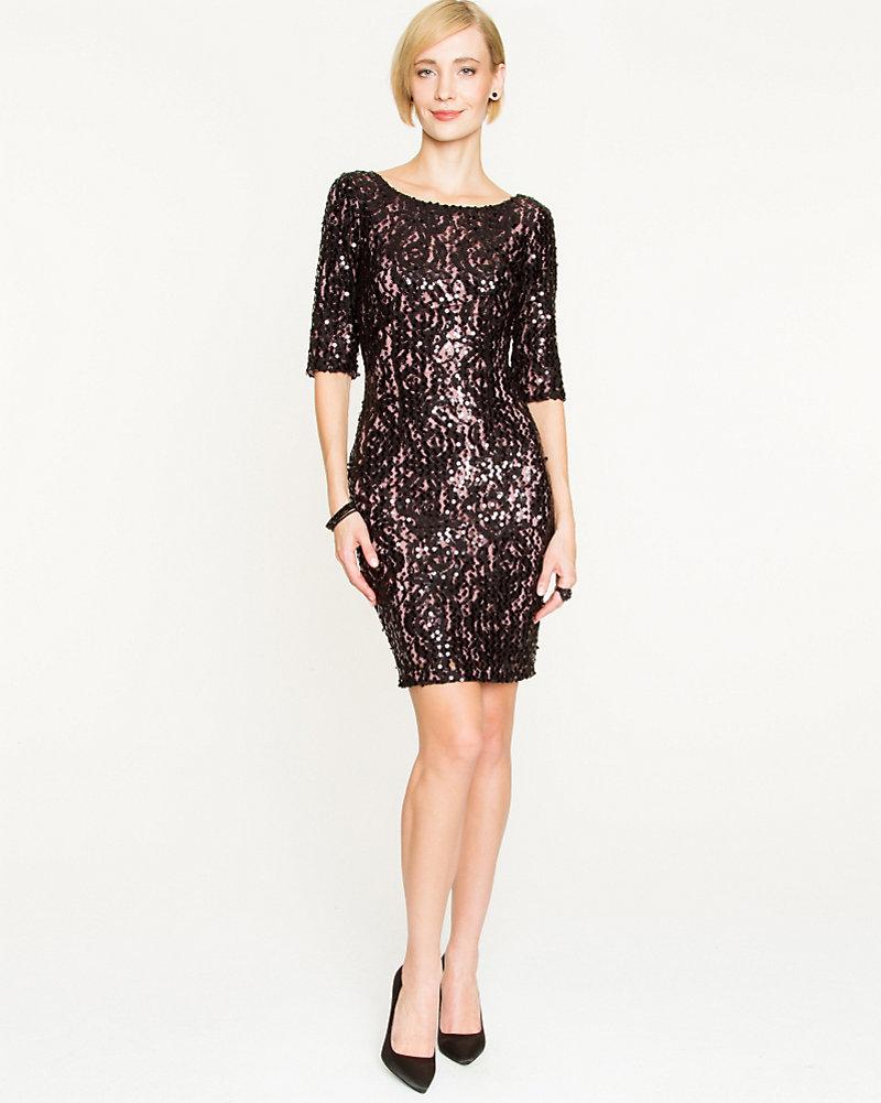 Stretch Lace & Sequin Cocktail Dress | LE CHÂTEAU